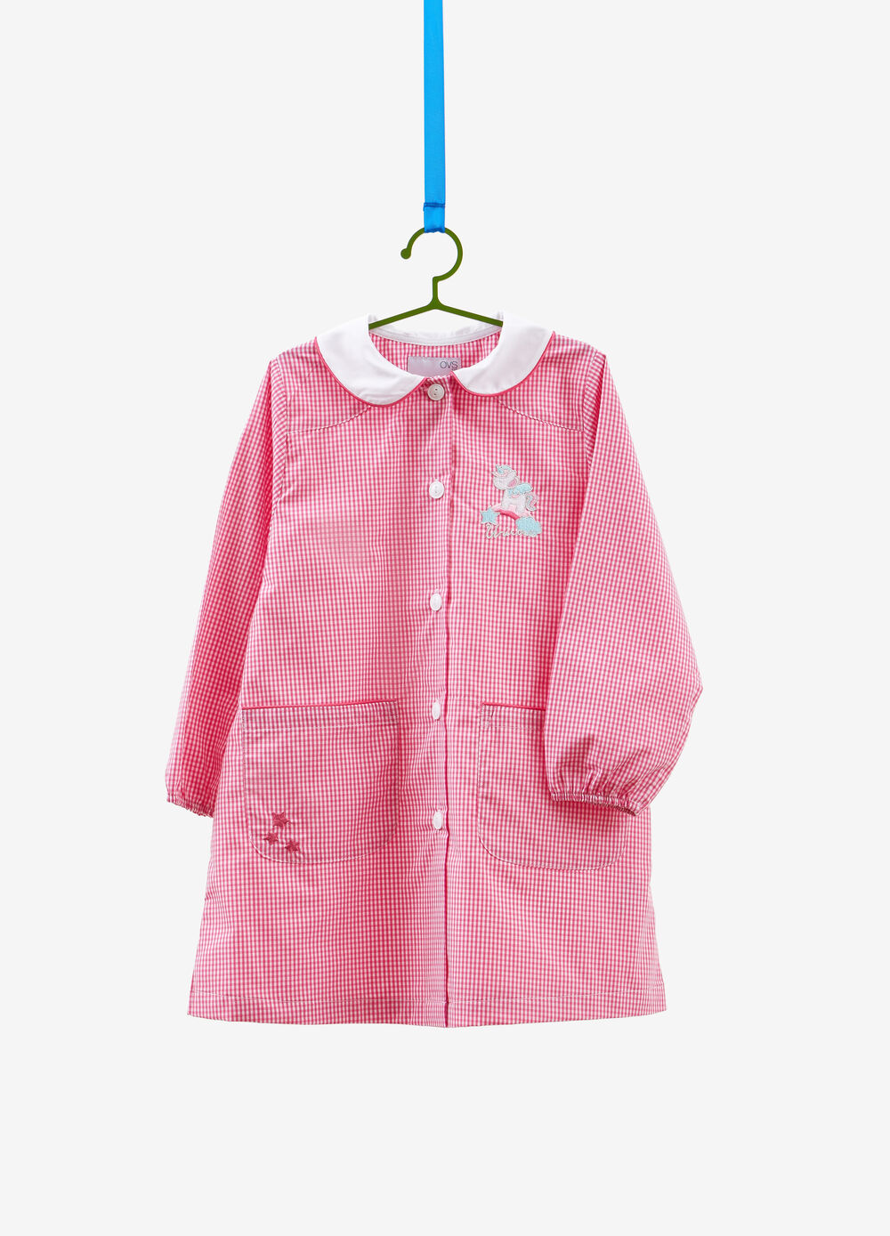 Micro check smock with embroidery