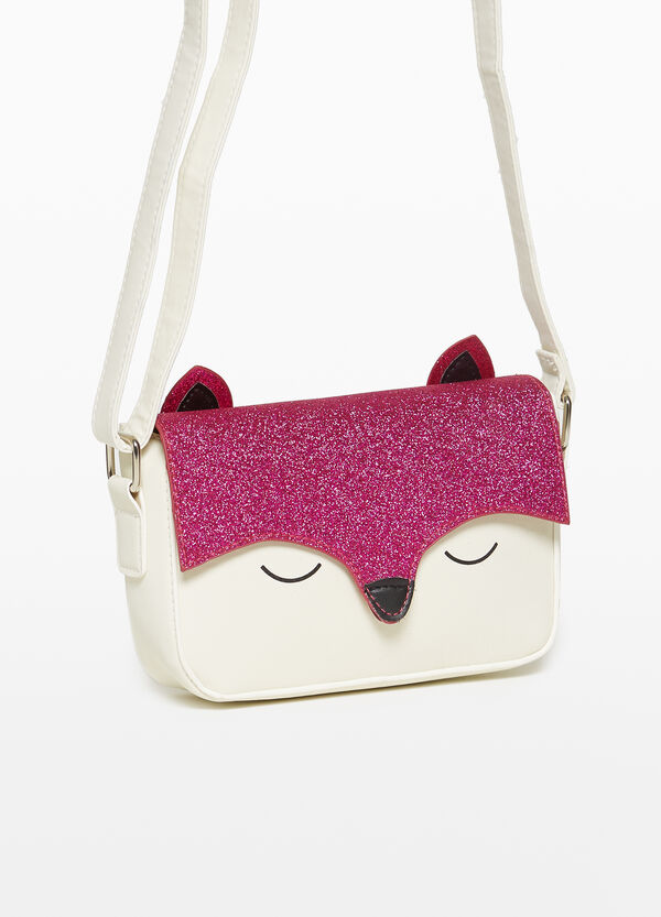 Glitter shoulder bag with kitten print