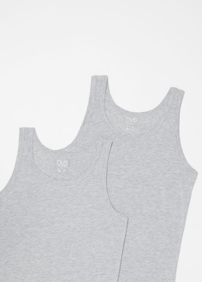 Two-pack mélange racerback tops with round neck