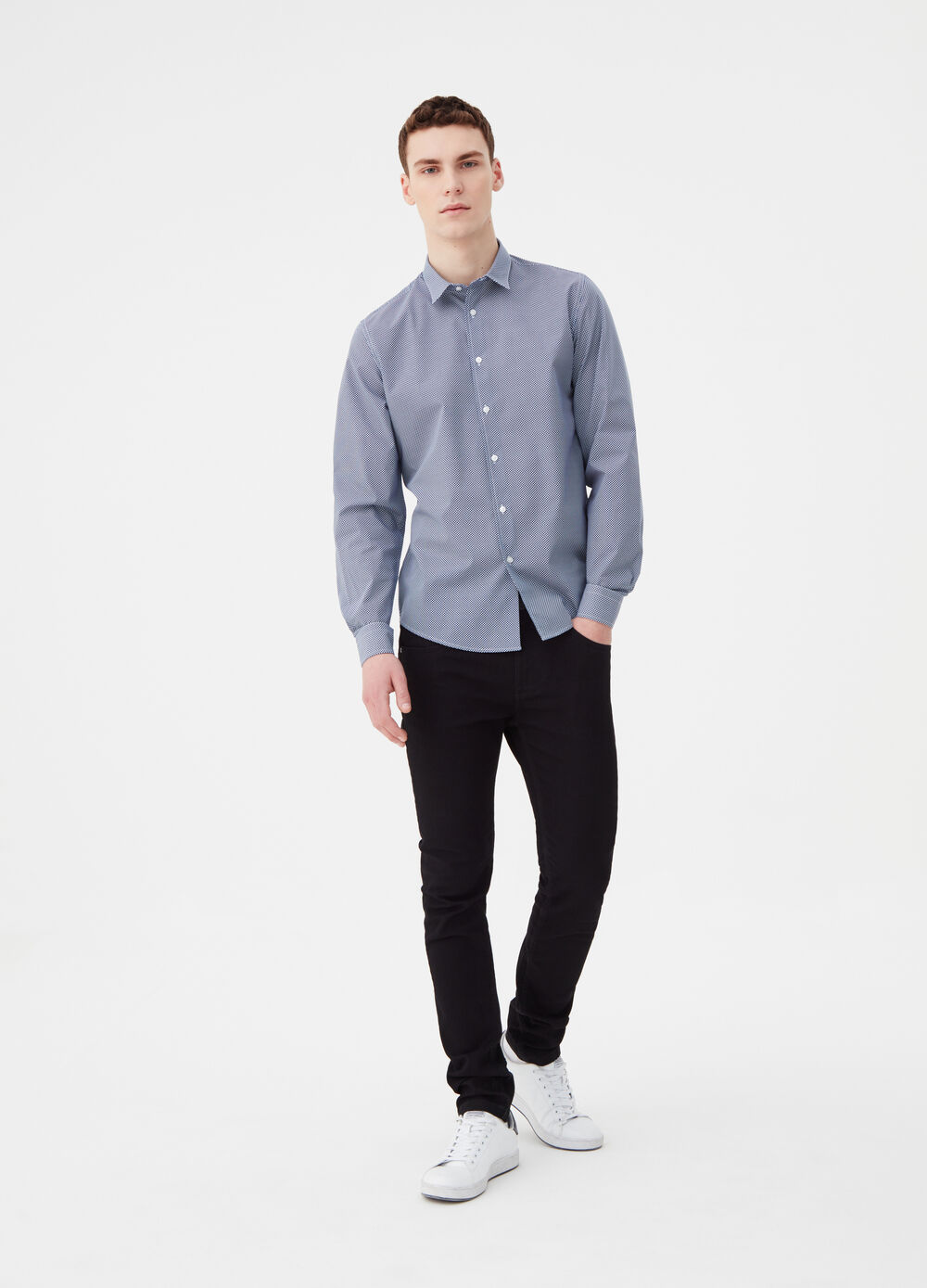 Micro-check cotton blend shirt