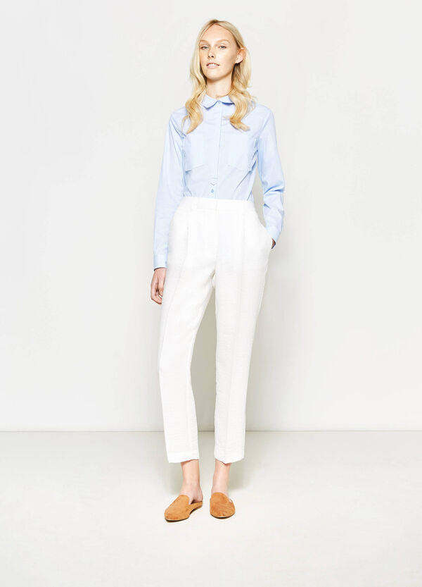 Cropped trousers with crease | OVS
