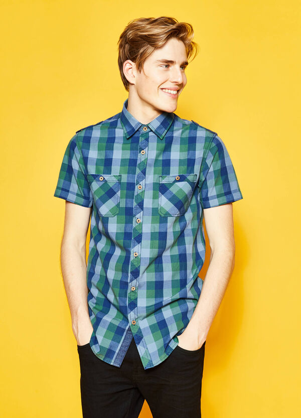 G&H short-sleeved casual check shirt | OVS