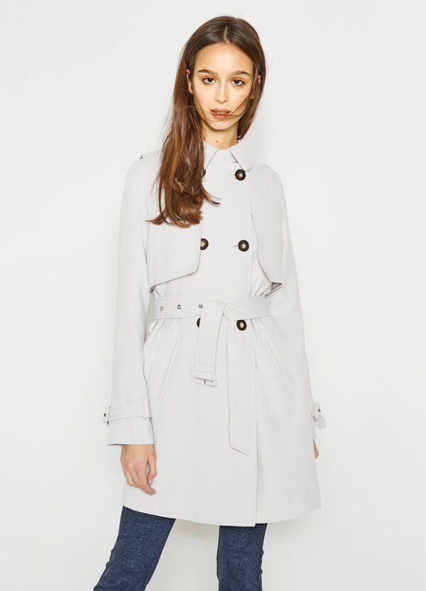 Trench coat with asymmetrical opening | OVS