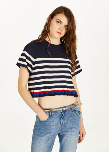 Striped crop T-shirt in blended viscose