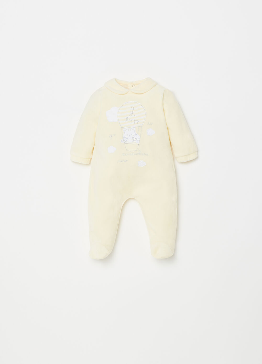 BCI chenille onesie with feet and kitten