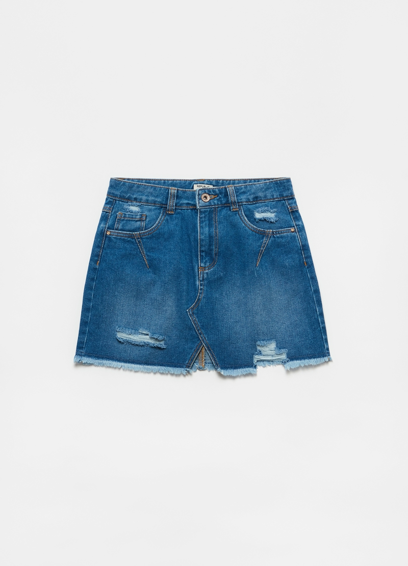 Fringed denim miniskirt image number null