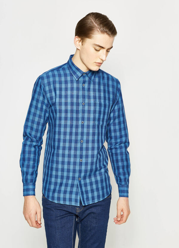 Casual check linen shirt | OVS