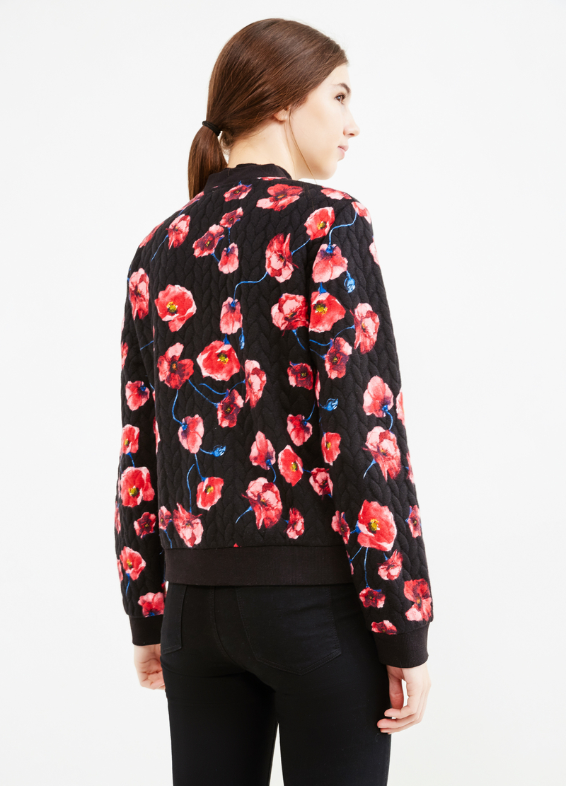 Sweatshirt with raised weave and floral print image number null
