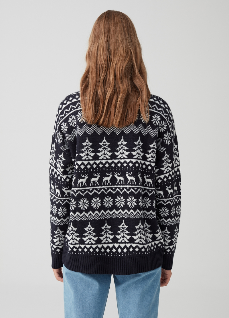 Knitted and ribbed pullover with Christmas embroidery image number null