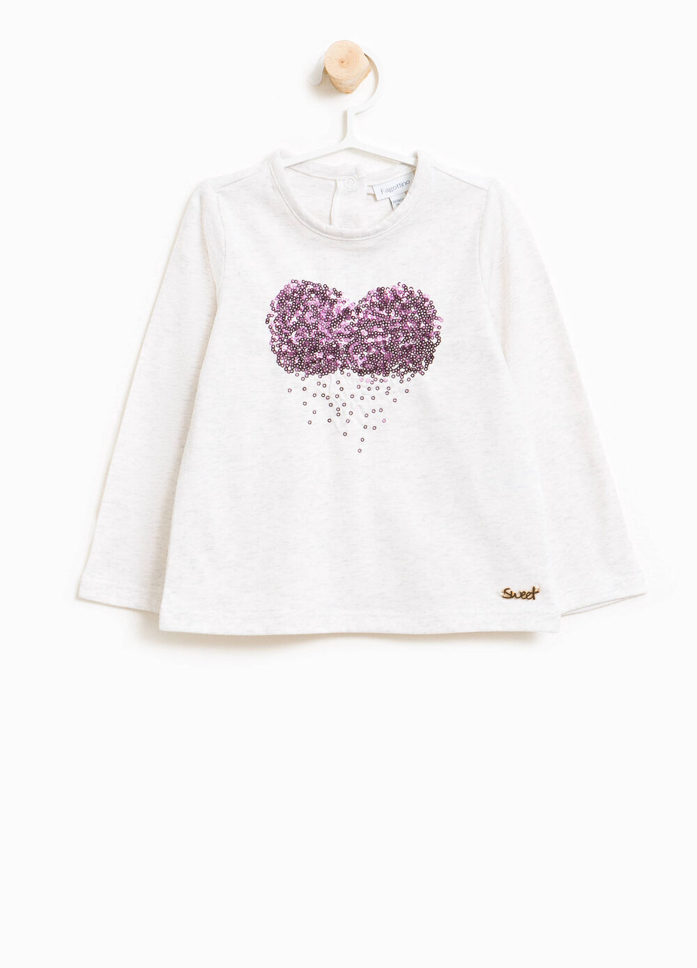 T-shirt in cotone stretch paillettes cuore