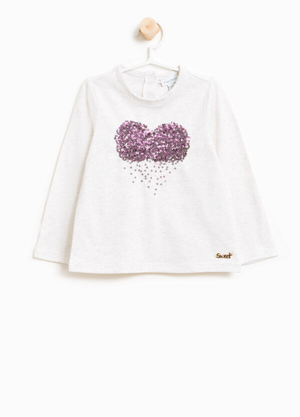 Stretch cotton T-shirt with heart sequins | OVS