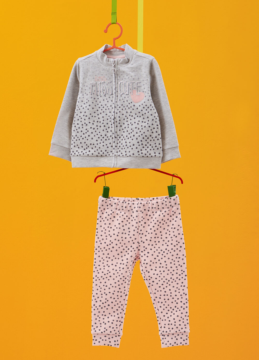 Polka dot tracksuit in stretch viscose and cotton