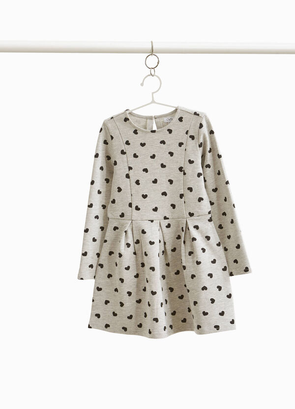 Cotton blend dress with hearts print