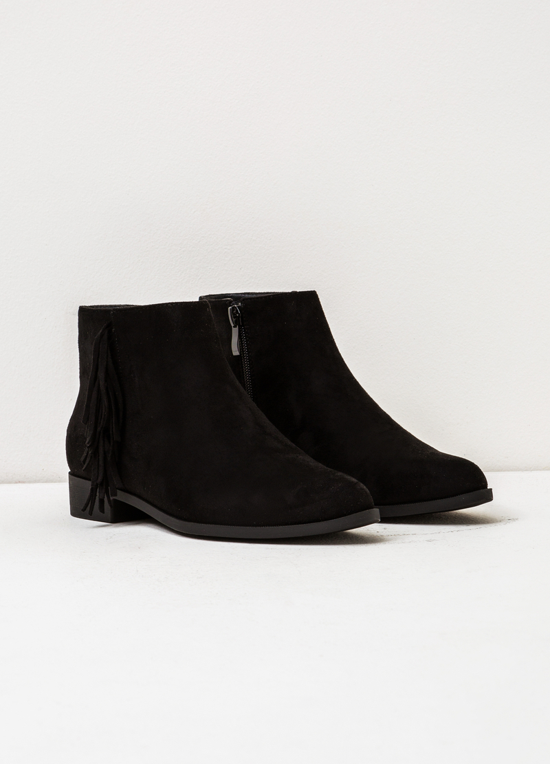 Suede ankle boots with fringe image number null