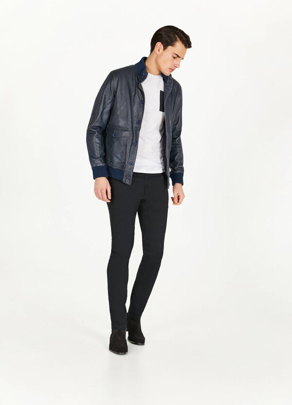 Textured genuine leather jacket