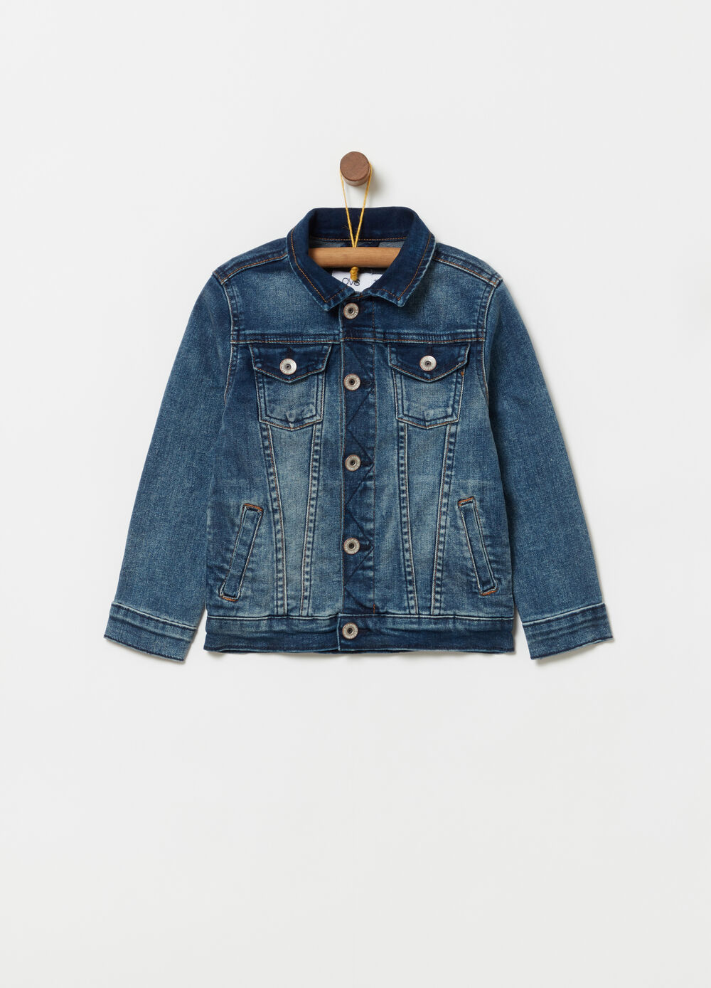 Stretch denim jacket with washed effect