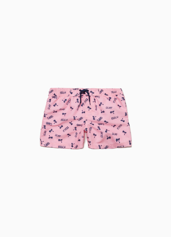Beach shorts with lettering and palms print