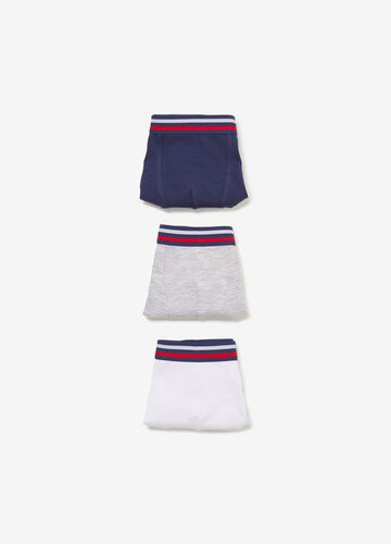 Three-pack stretch cotton boxer shorts with striped waist