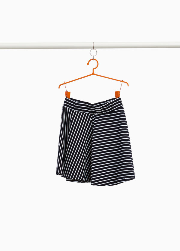 Striped skirt with crossover front