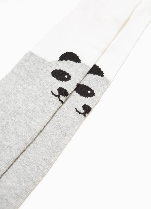 Tights in stretch cotton with panda embroidery | OVS