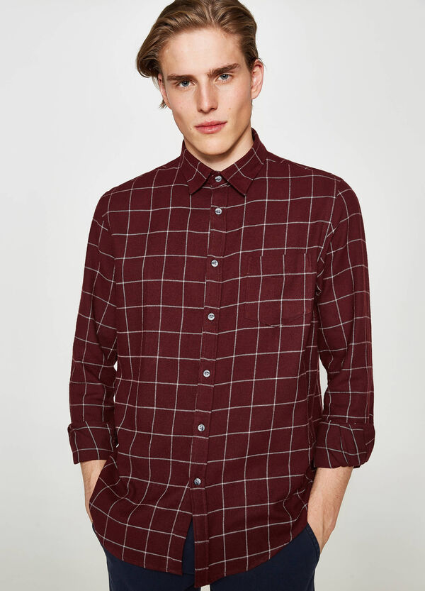 Casual shirt in check heavy flannel