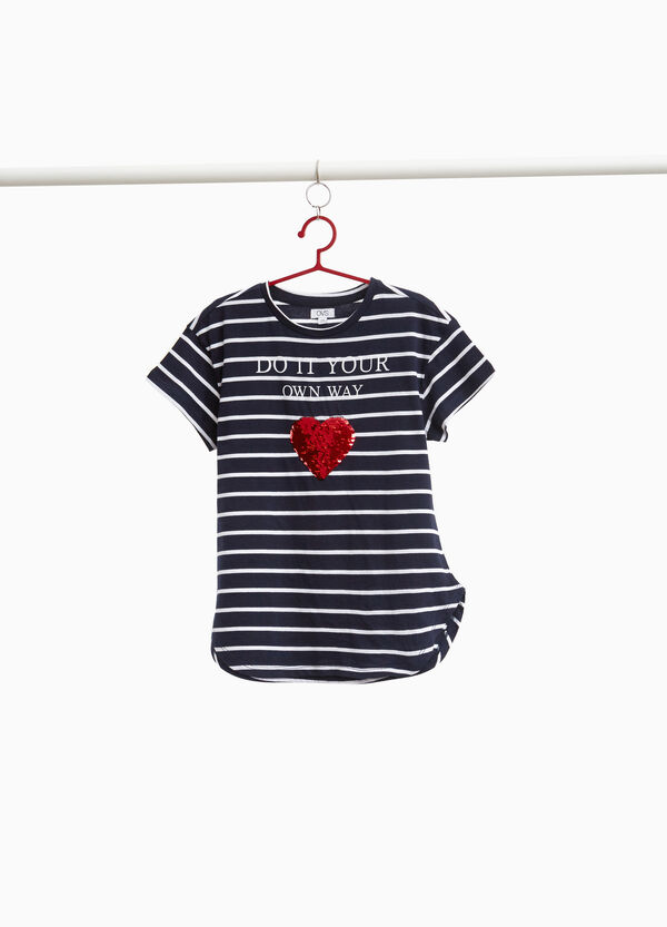 Striped T-shirt with heart-shaped sequins