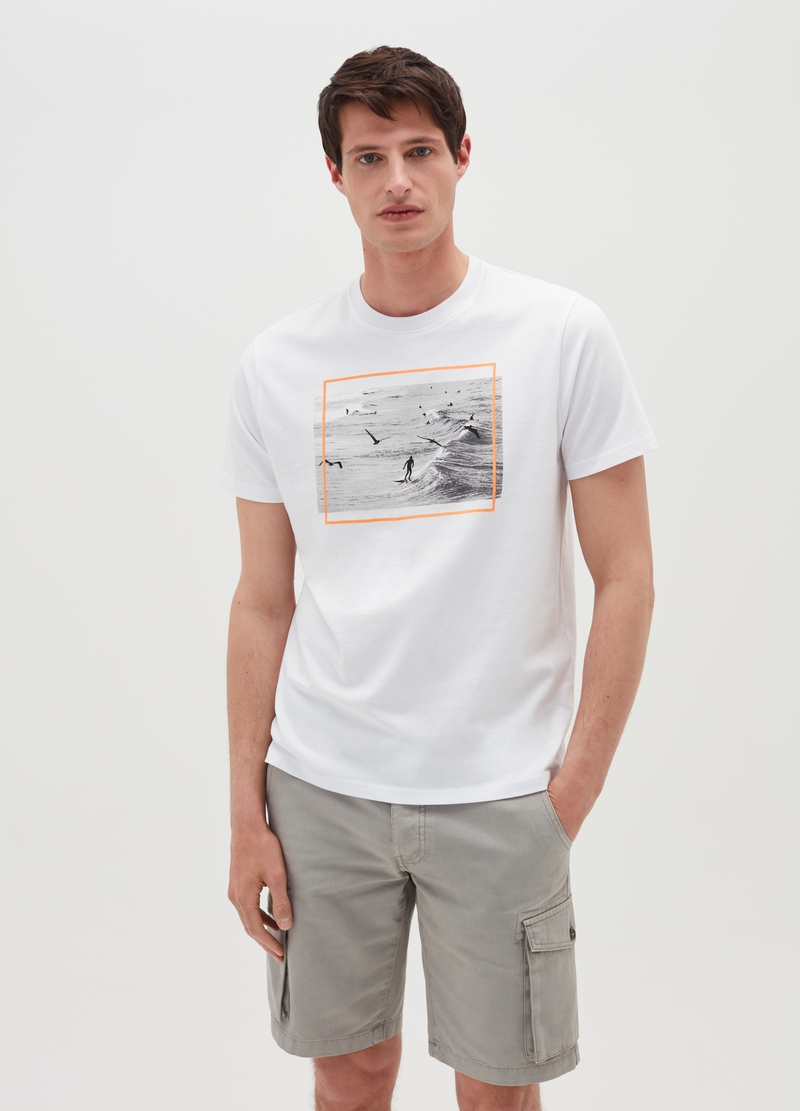 T-shirt in cotone con stampa fotografica image number null