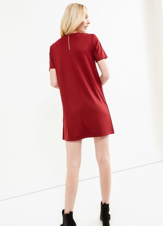 Short-sleeved suede-effect dress