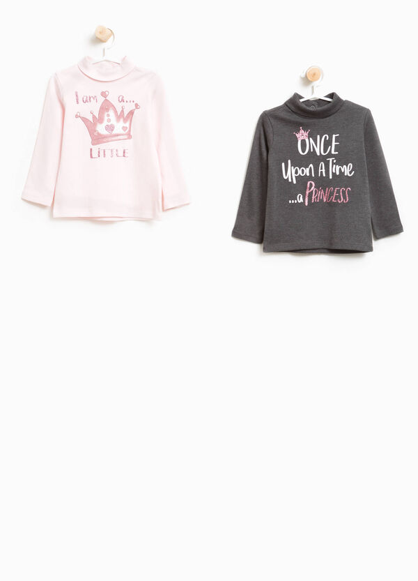 Two-pack cotton turtleneck jumper with glitter print | OVS