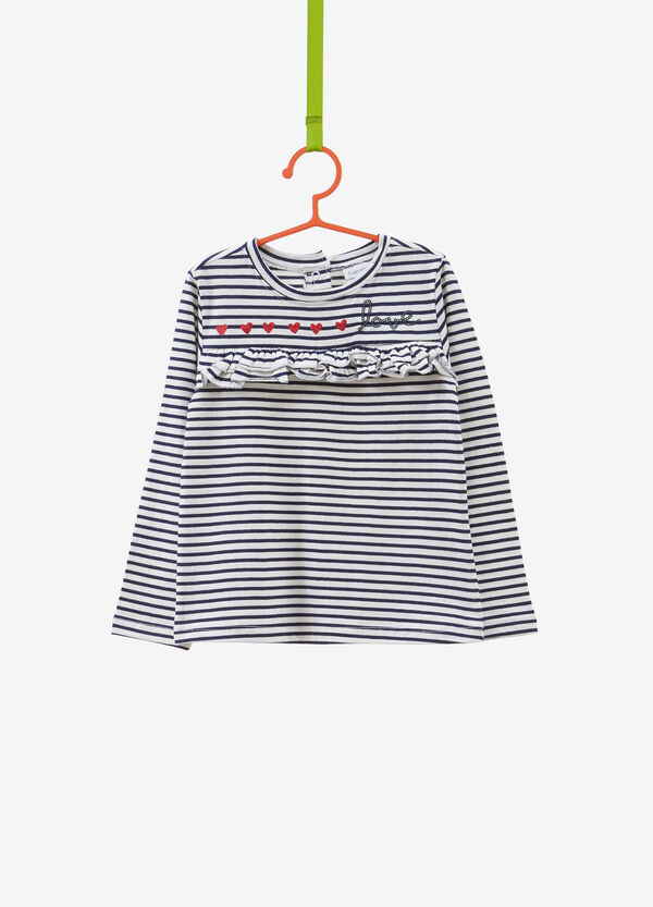 Striped T-shirt with glitter hearts and flounce
