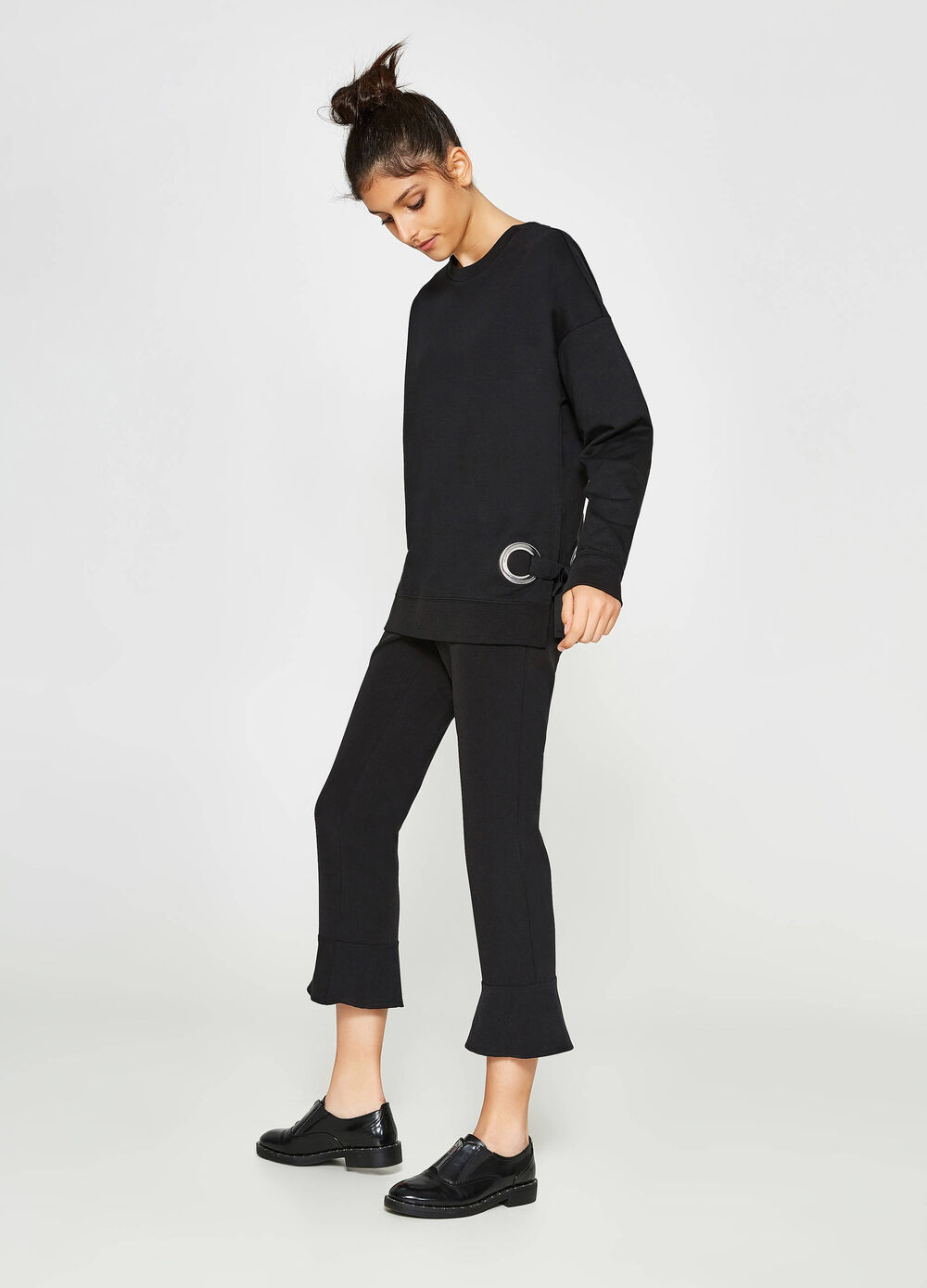 Cotton pullover with side ties