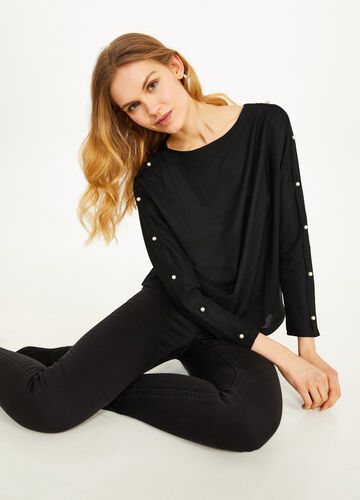 Stretch T-shirt with bow and beads