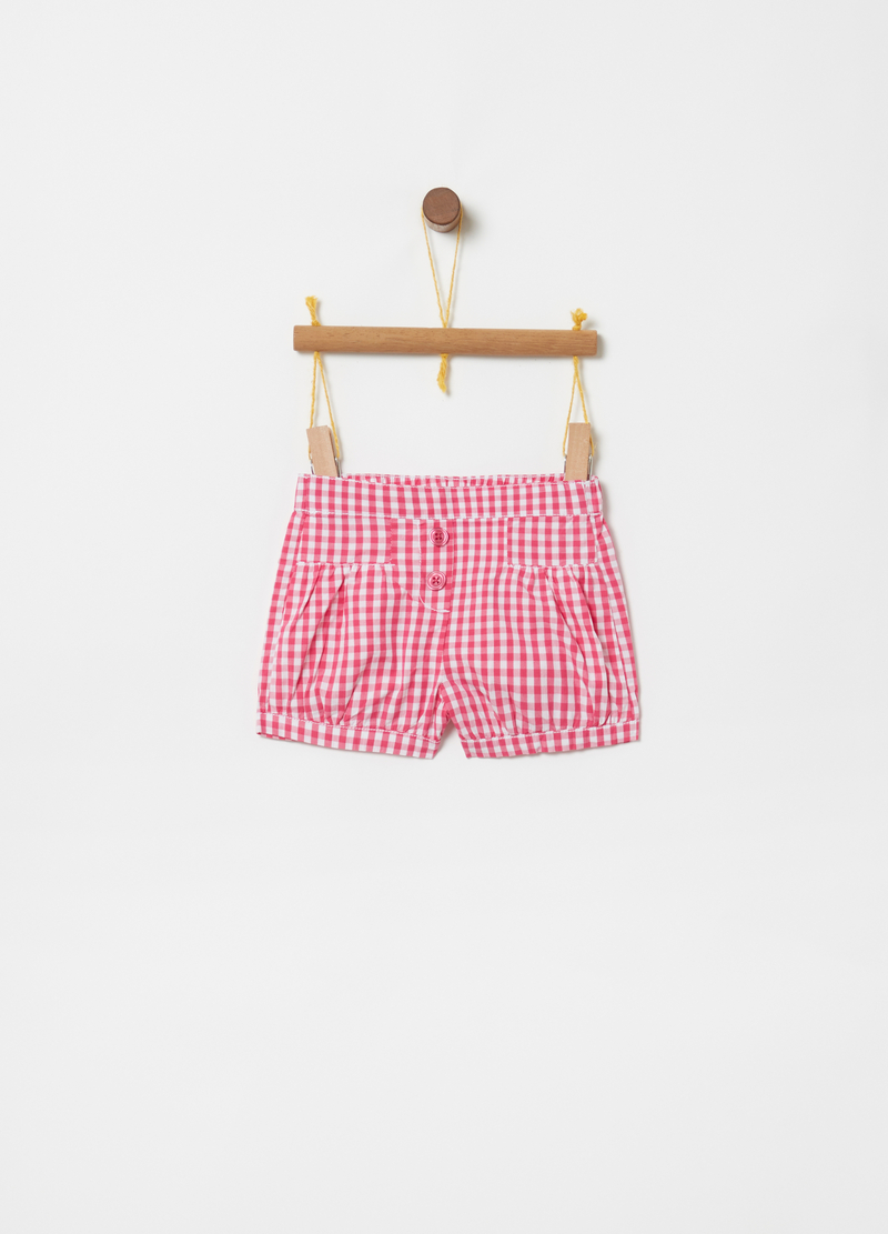 Shorts with buttons and Vichy pattern image number null