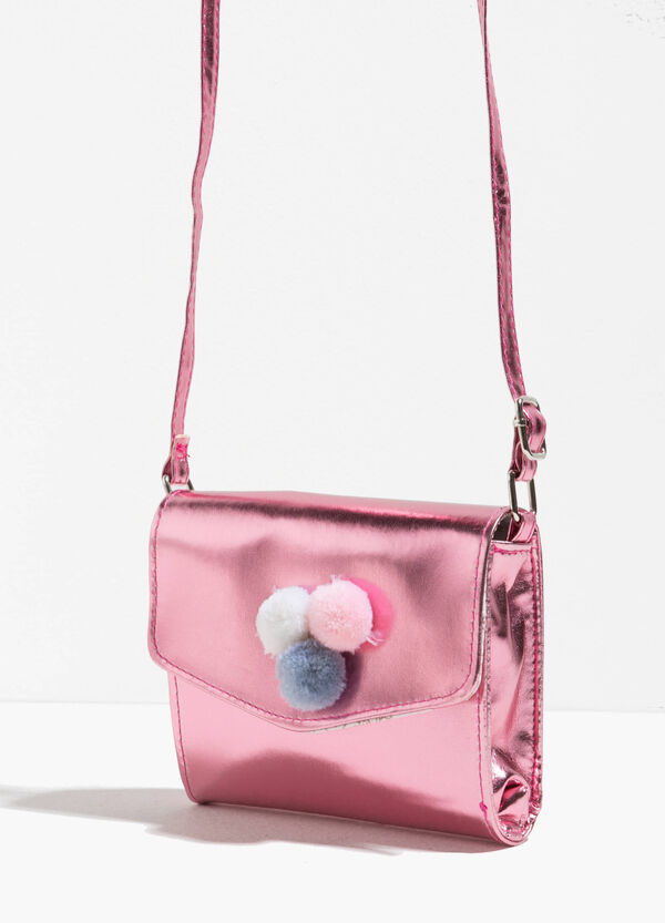 Shiny shoulder bag with pompoms