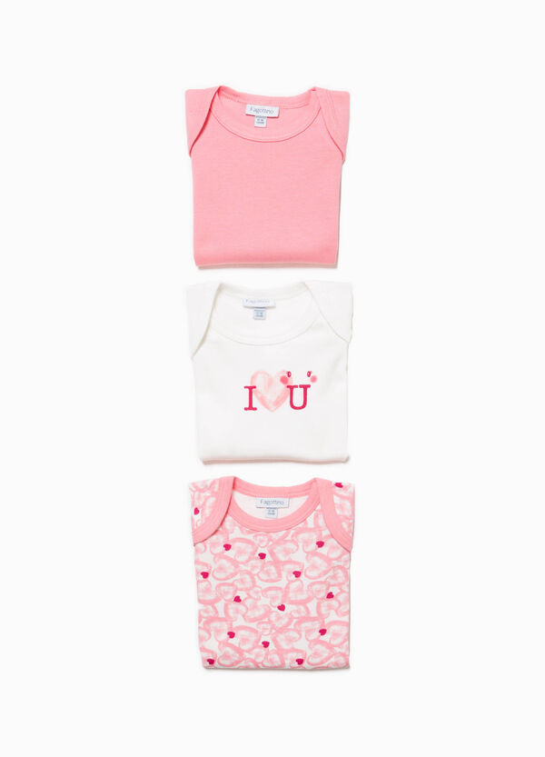 Three-pack Better Cotton bodysuits with hearts pattern | OVS