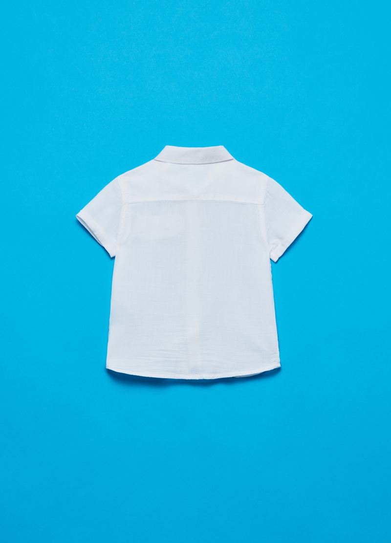 Cotton shirt with short sleeves image number null
