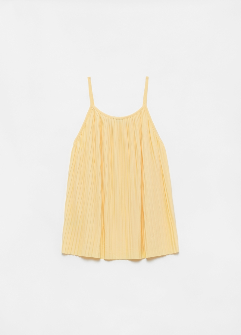 Solid colour pleated tank top image number null