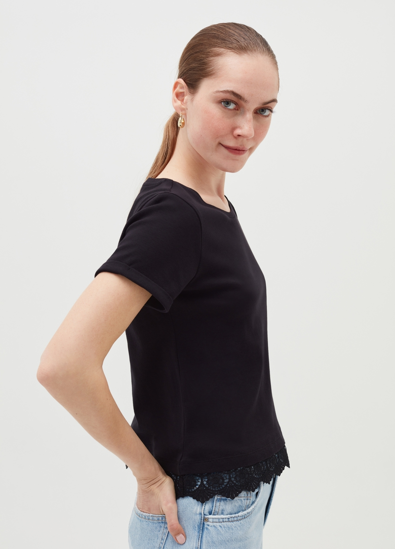 Cotton T-shirt with lace insert on the hem image number null