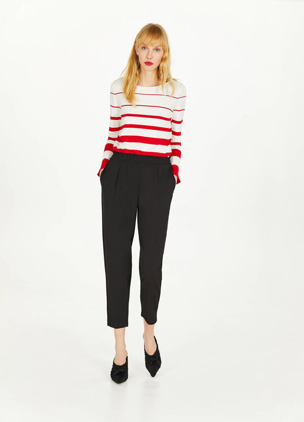 High-waisted stretch cropped trousers