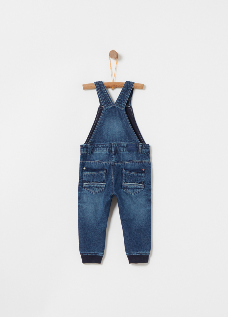 Regular-fit denim dungarees with worn effect image number null