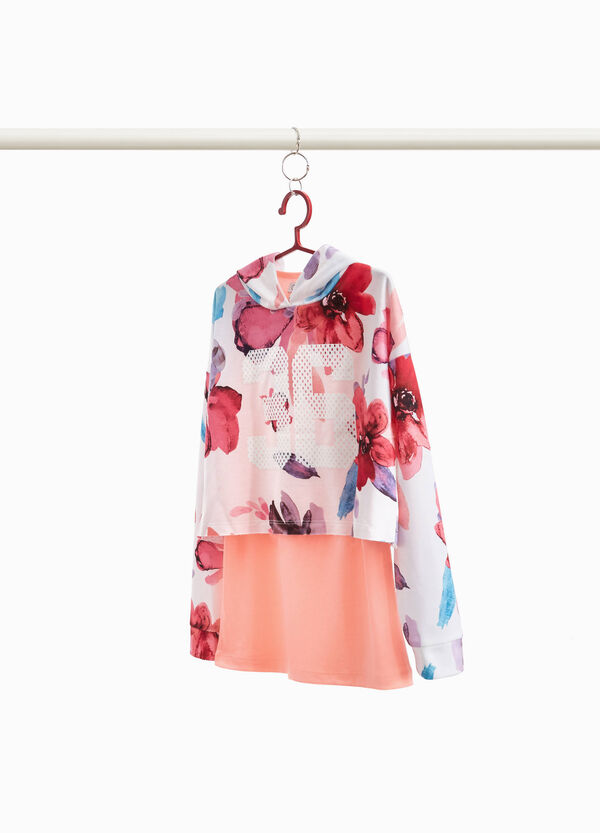 Stretch floral sweatshirt with print