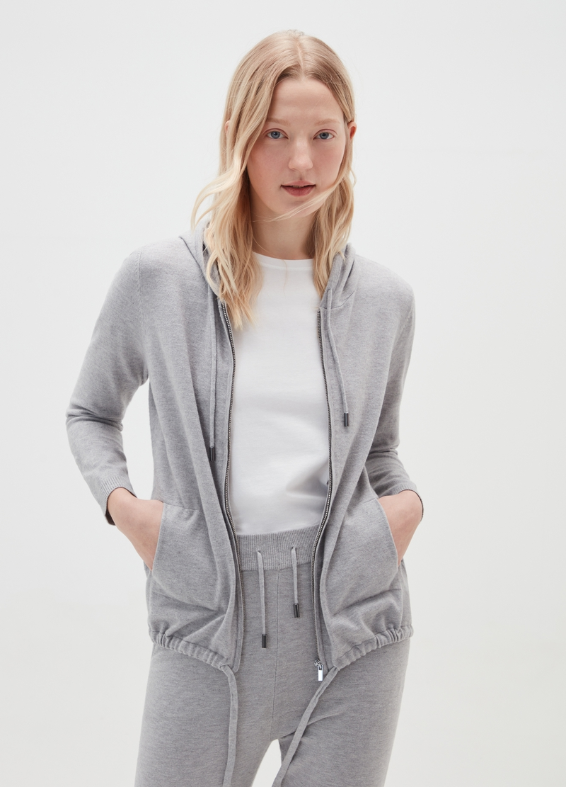 Full-zip cardigan with hood image number null