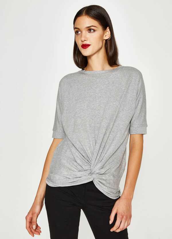 Stretch T-shirt with knotted hem | OVS