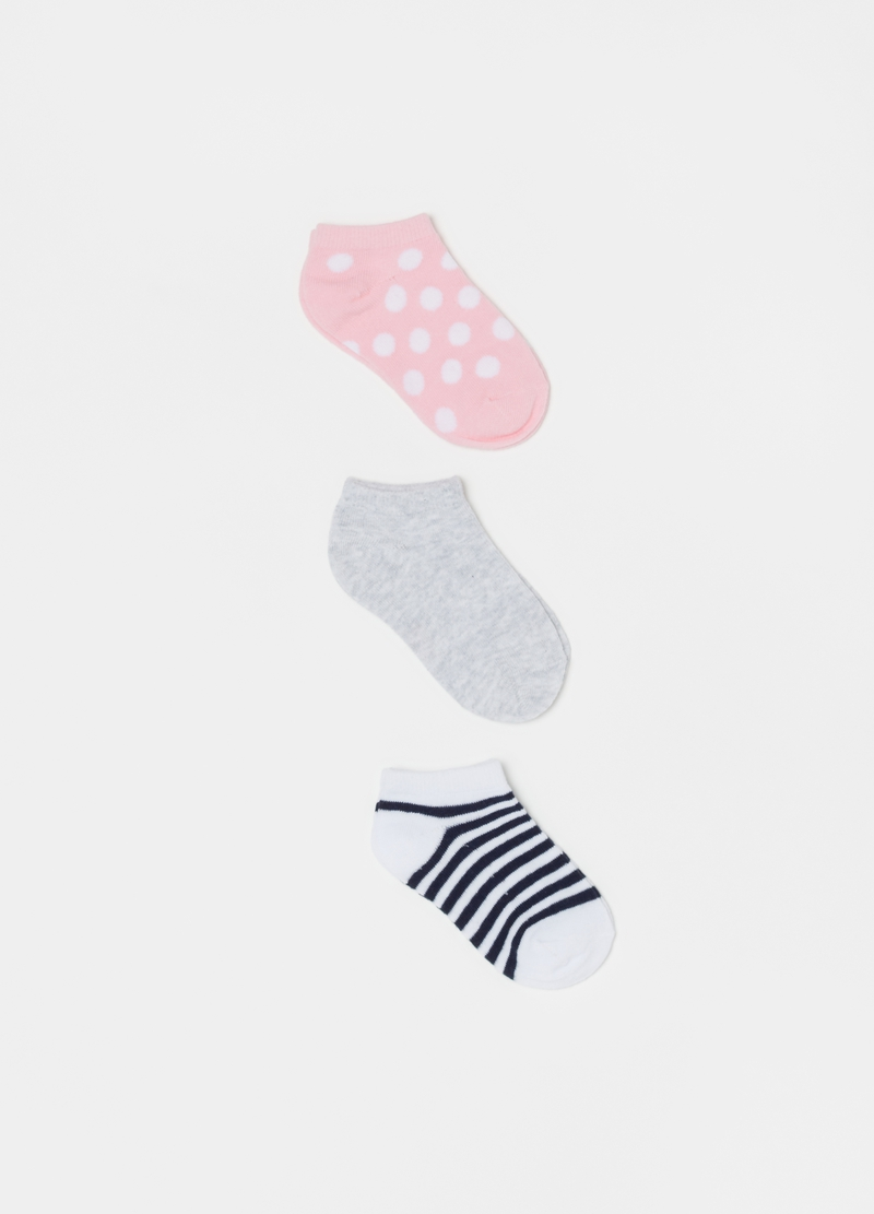 Three-pair pack short socks with stripes and polka dots image number null