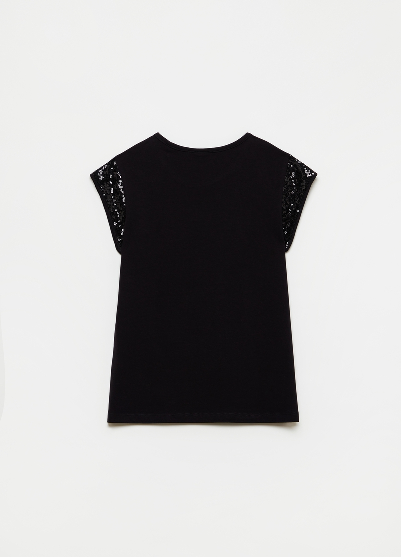 T-shirt con maniche in sequins image number null