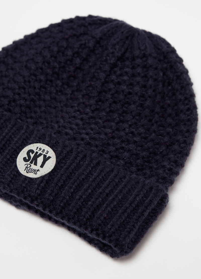 Knitted hat with lettering patch image number null