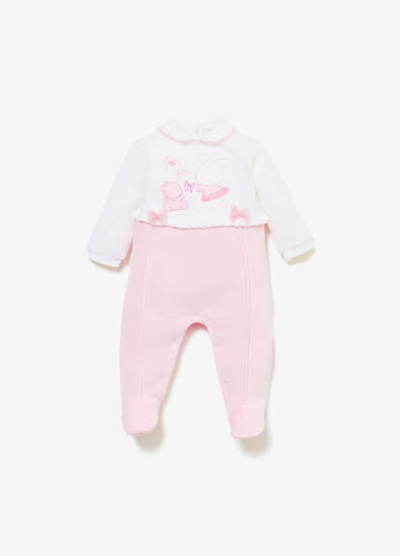 Two-tone onesie with animal patches