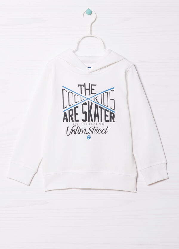 100% cotton hoodie with printed lettering   OVS