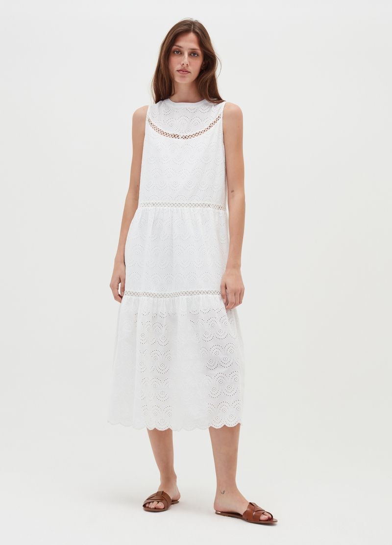 Long dressed in broderie anglaise flounces image number null