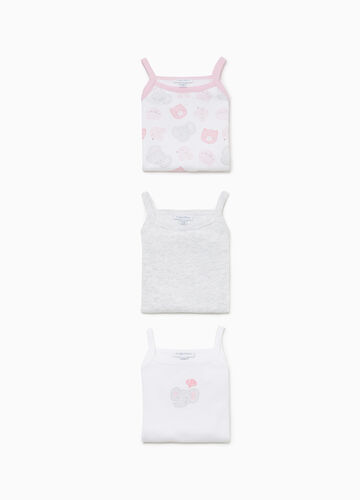Three-pack sleeveless bodysuits with print